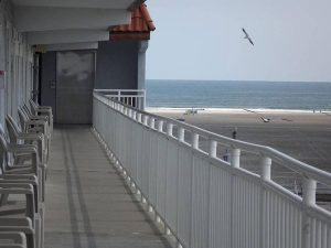 Beach view from hotel suite balcony at Days Inn and Suites Wildwood